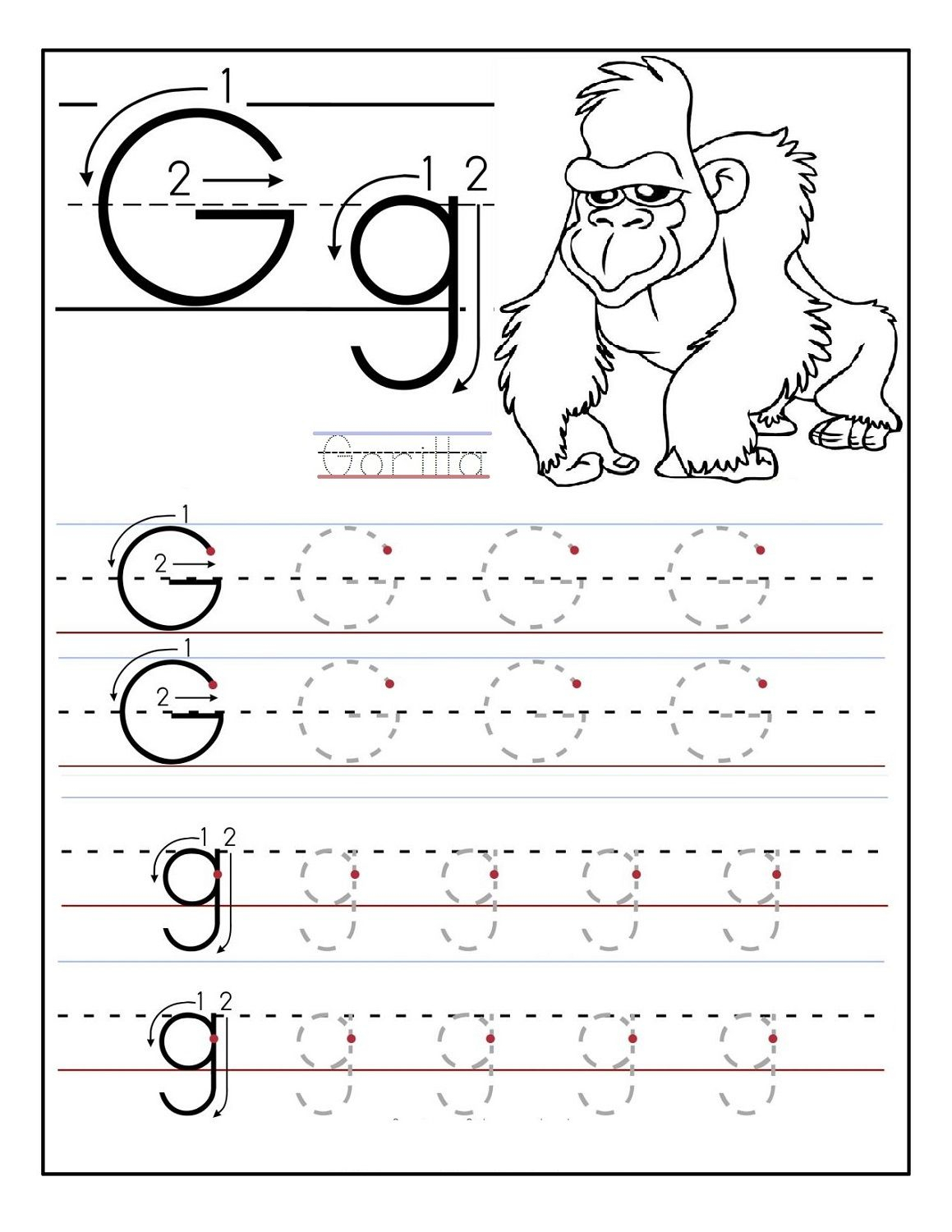 Free Traceable Alphabet Worksheets Gorilla | Alphabet pertaining to Letter G Tracing Page