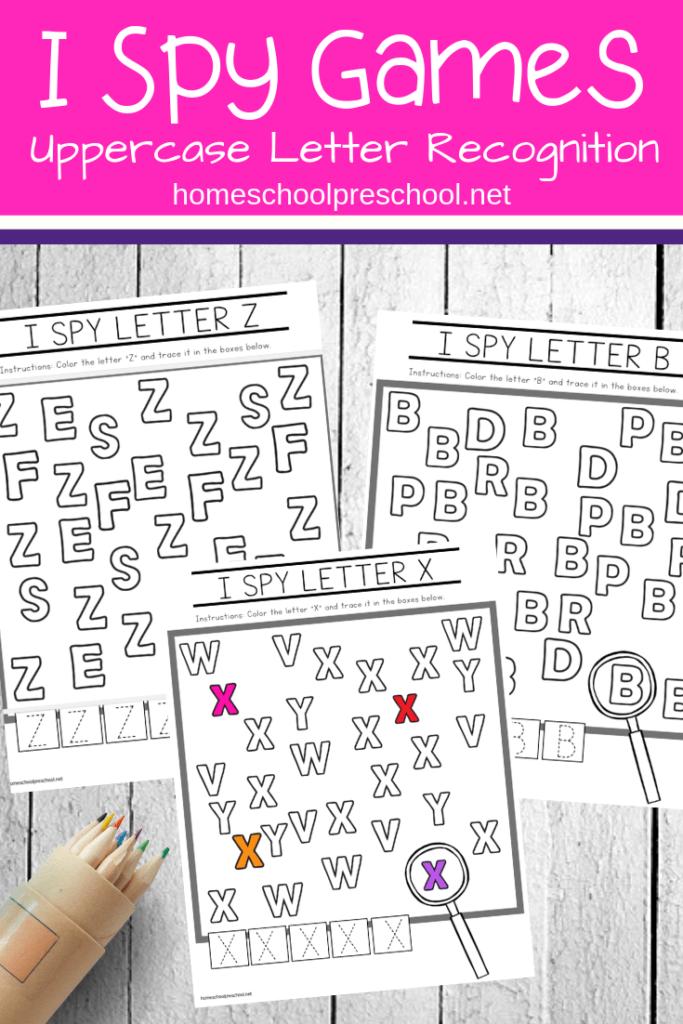 Free Uppercase I Spy Letters Printable Worksheets | Alphabet Pertaining To I Spy Alphabet Worksheets