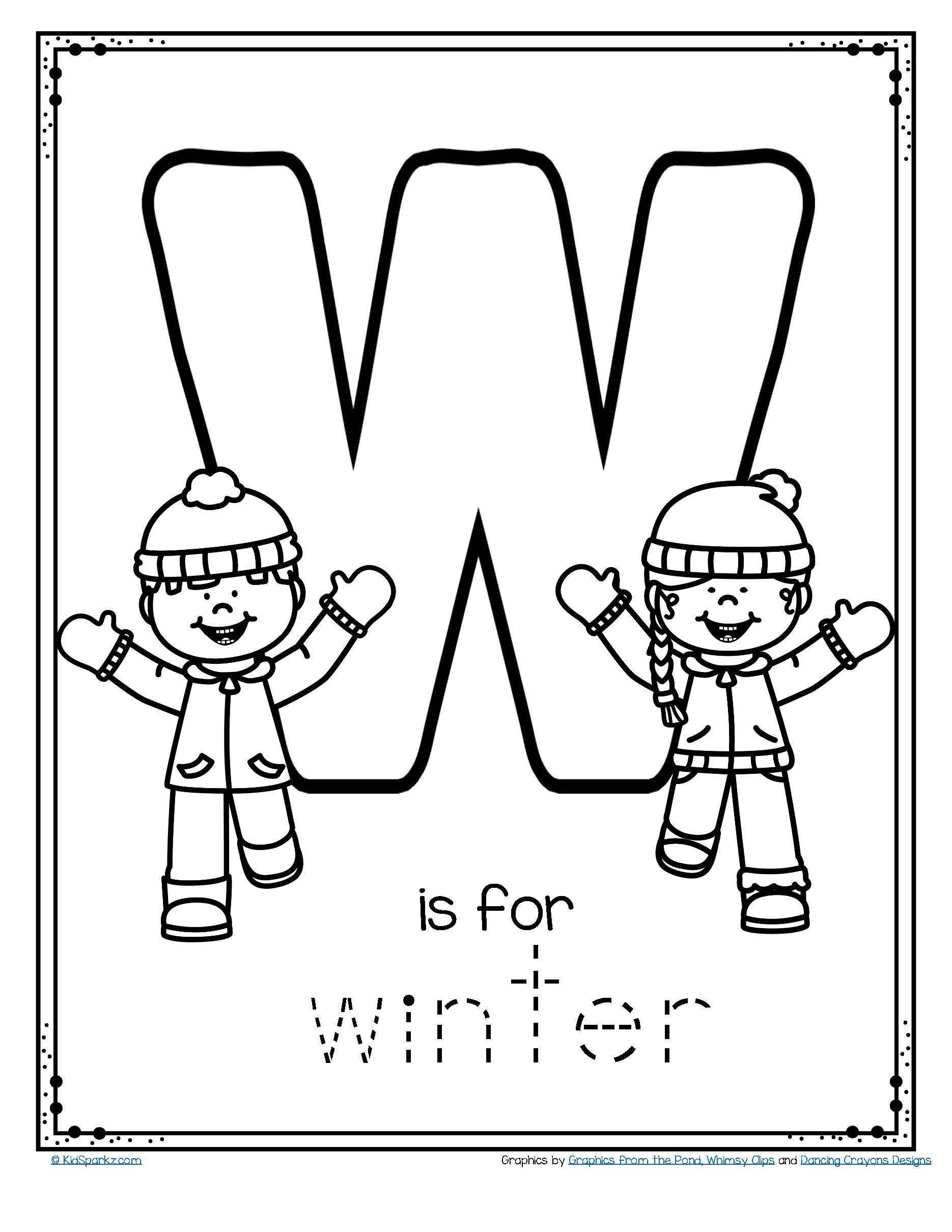Free W Is For Winter Trace And Color Printable with Letter W Worksheets For Toddlers