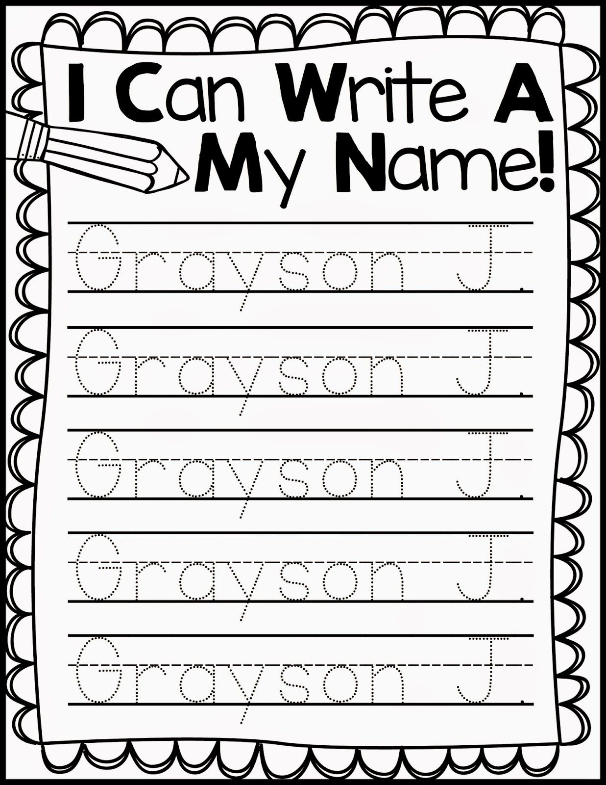 Freebie Friday* Name Handwriting Practice (With Images with Name Tracing Practice Editable