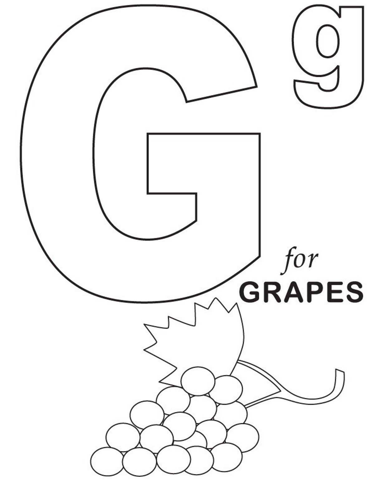 Grapes Fruit Coloring Pages Alphabet (With Images intended for Letter G Worksheets Twisty Noodle