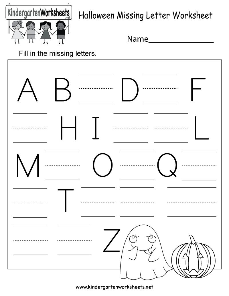 Halloween Missing Letter Worksheet - Free Kindergarten in Alphabet Worksheets Missing Letters