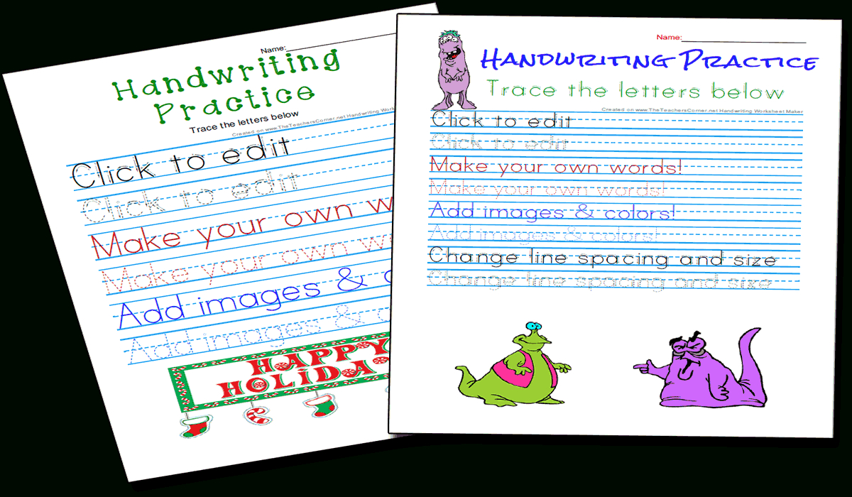 Handwriting Practice And Copywork Worksheets Maker throughout Name Tracing Maker