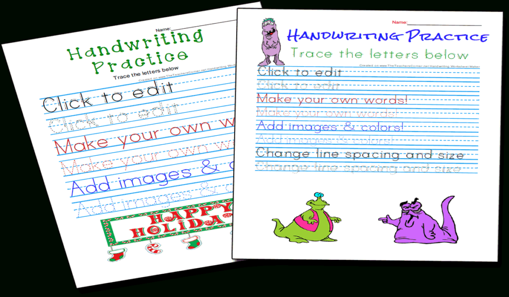 Handwriting Practice And Copywork Worksheets Maker With Regard To Name Tracing Worksheet Generator Free