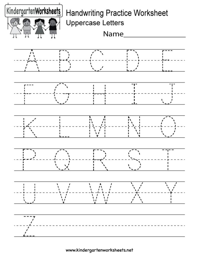 Handwriting Practice Worksheet   Free Kindergarten English In Alphabet Practice Worksheets For Kindergarten