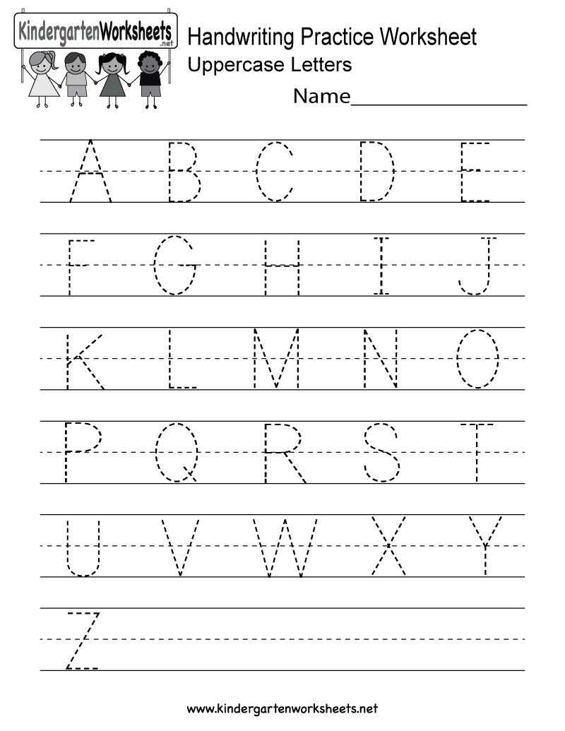 Handwriting Practice Worksheet - Free Kindergarten English in Alphabet Practice Worksheets For Kindergarten