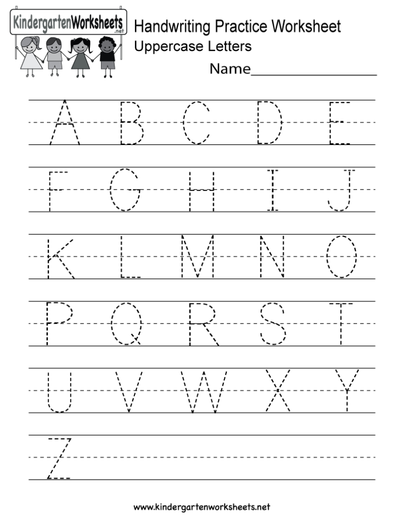 Handwriting Practice Worksheet   Free Kindergarten English With Alphabet Worksheets Preschool Pdf