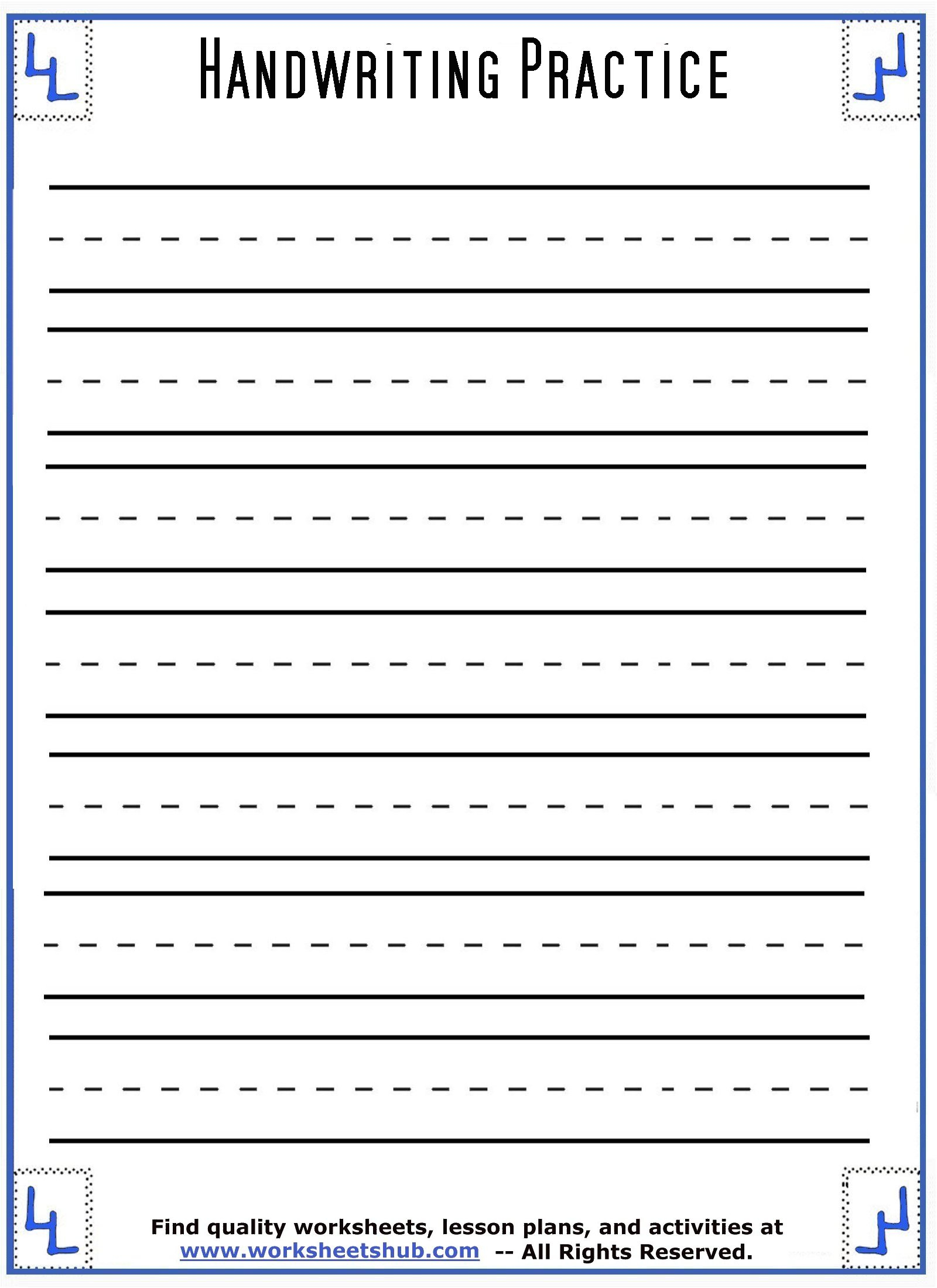 Handwriting Sheets:printable 3-Lined Paper for Letter Orientation Worksheets