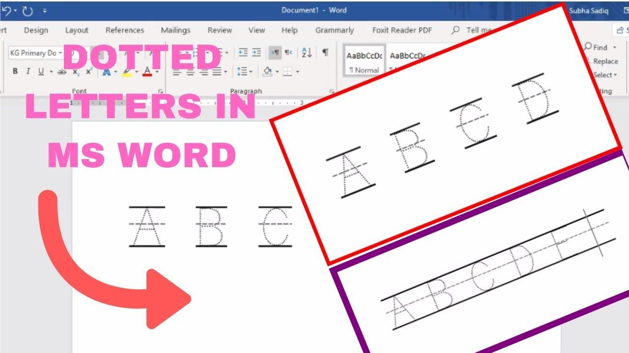 How To Make Dotted Letters In Microsoft Word | Dotted Letter within Name Tracing Dotted Lines