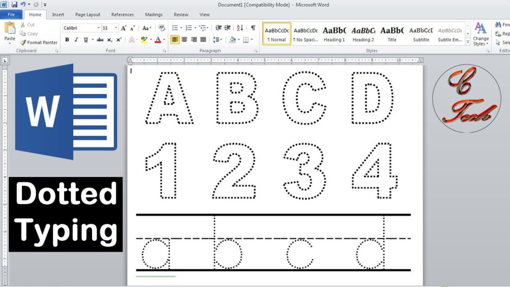 How To Make Dotted Typing Design In Microsoft Word With Alphabet Tracing Font