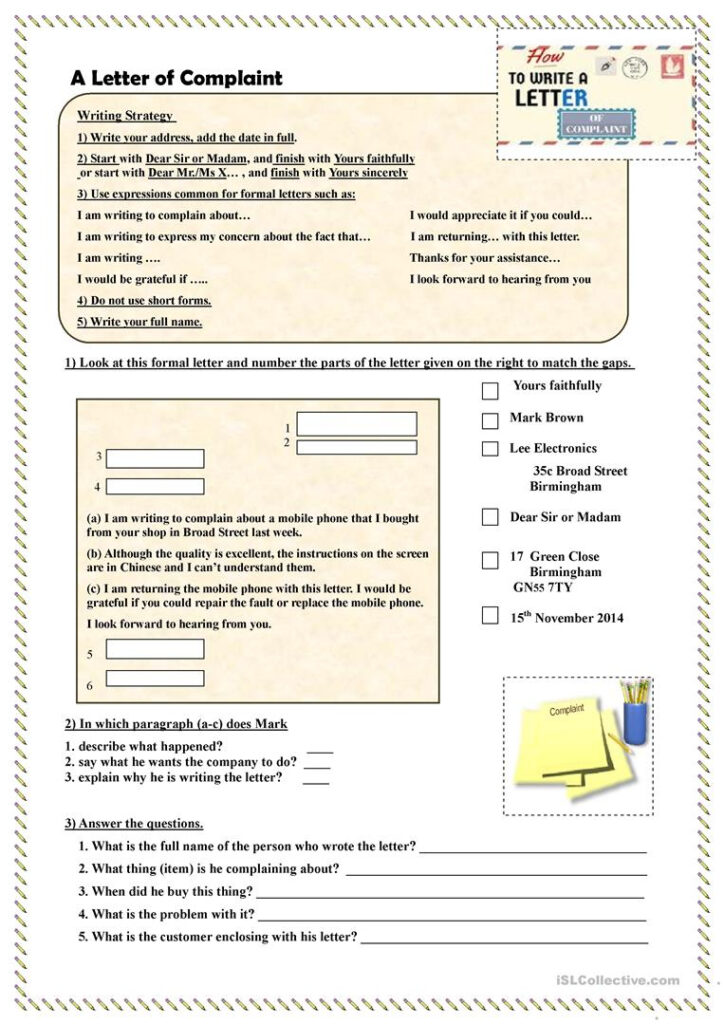 How To Write A Letter Of Complaint   English Esl Worksheets With Letter Writing Worksheets For Grade 5