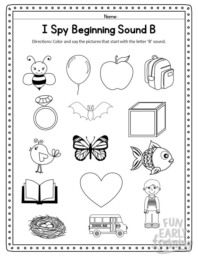I Spy Beginning Sounds Activity - Free Printable For Speech for Alphabet Sounds Worksheets Pdf