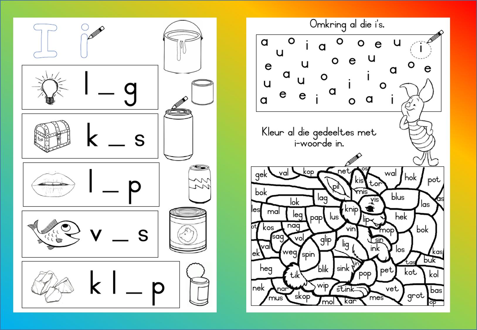 I - Woorde Werkkaart, Grondslagfase. Aflaaibare, Volledige with regard to Grade R Alphabet Worksheets South Africa