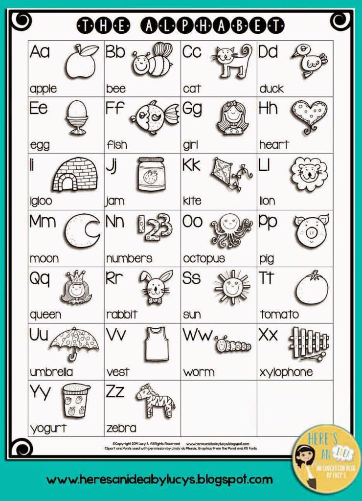 I'm In A Sharing Mood! Free B&w Alphabet Charts   English Inside Alphabet Words Worksheets