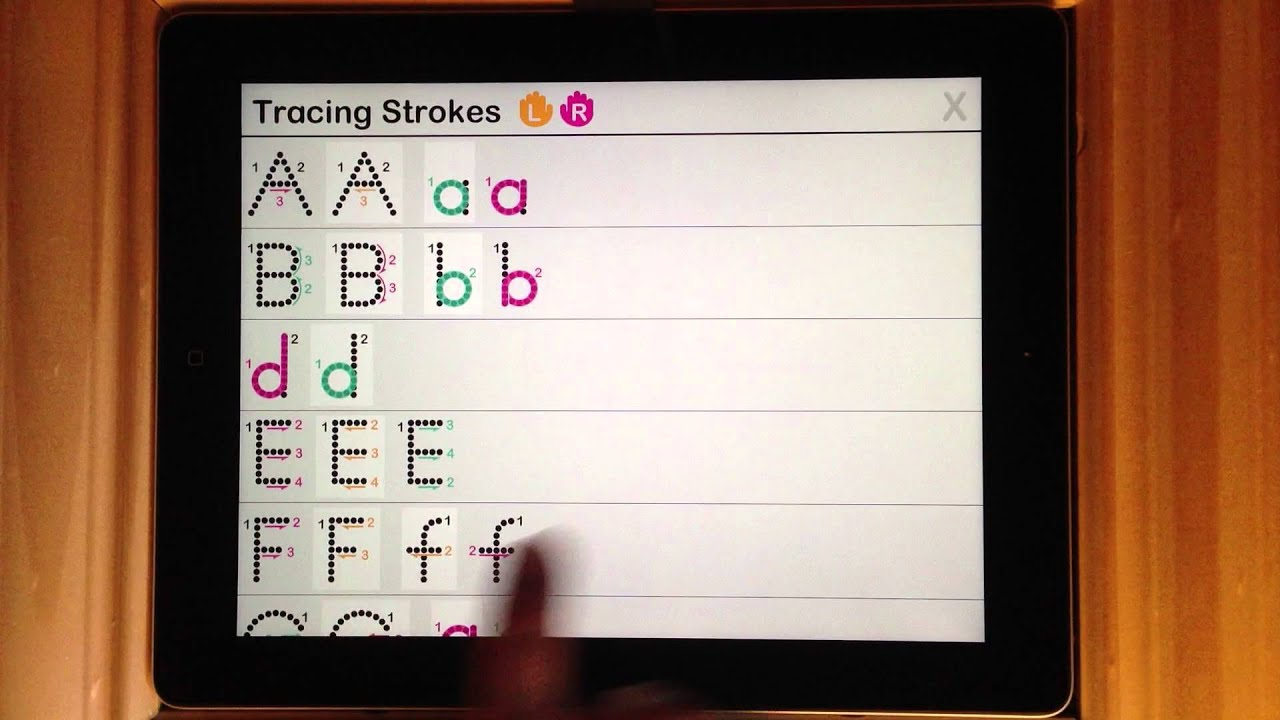 Interactive Alphabet - Tracing Left Hand Stroke Customizations. intended for Alphabet Tracing On Ipad