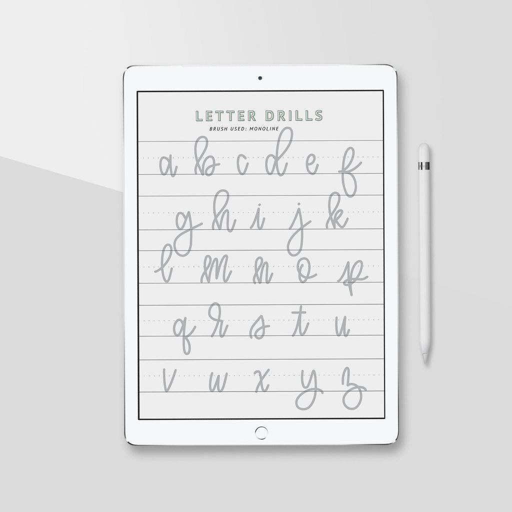 Ipad Lettering Calligraphy Practice Sheets, Procreate App regarding Alphabet Tracing On Ipad