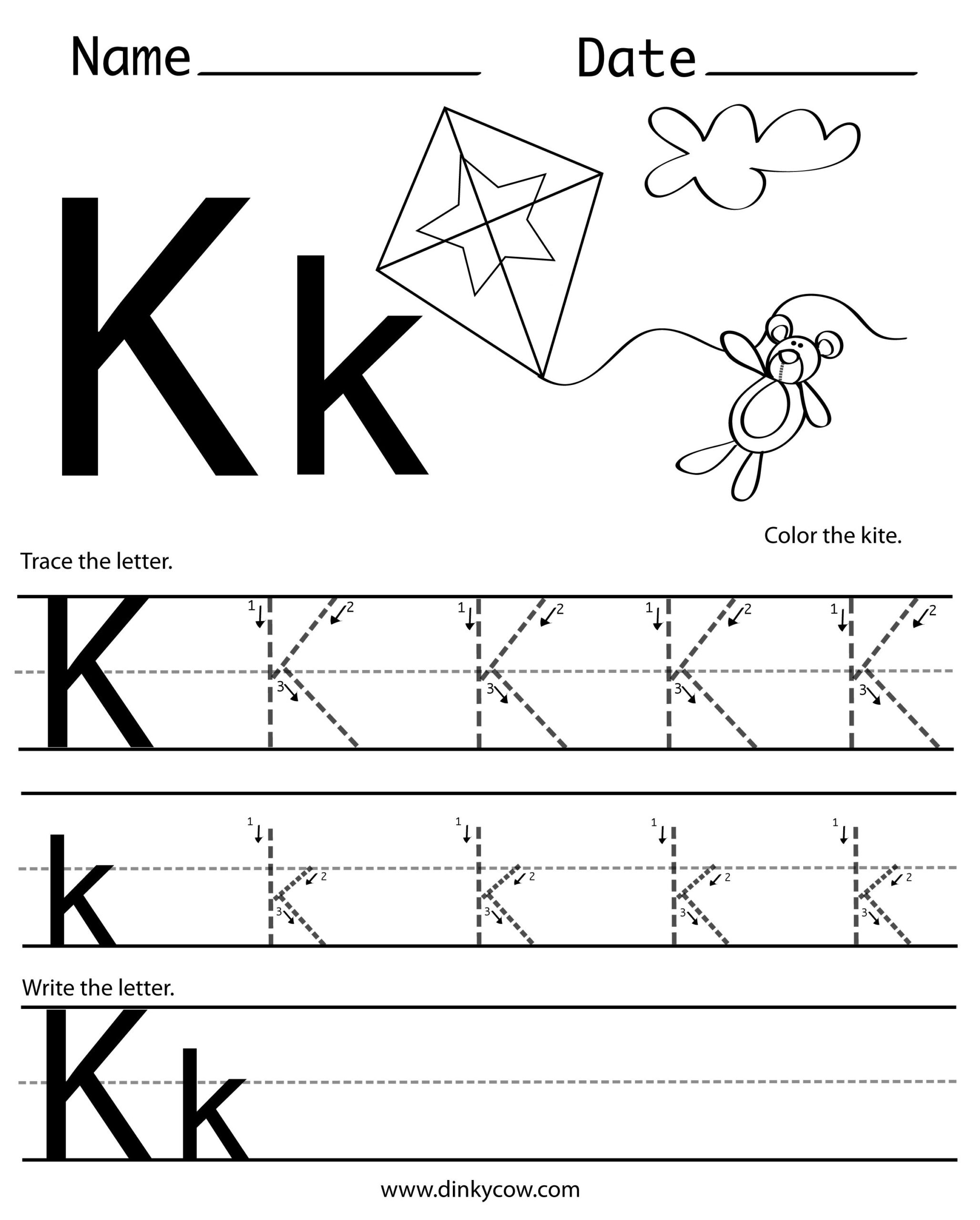 K-Free-Handwriting-Worksheet-Print 2,400×2,988 Pixels regarding Letter K Worksheets For Prek