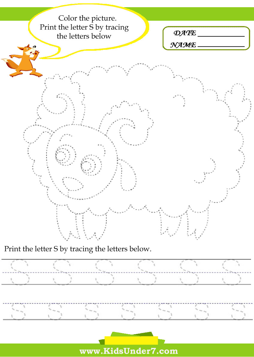 Kids Under 7: Alphabet Worksheets.trace And Print Letter S inside Alphabet Worksheets 4 Lines