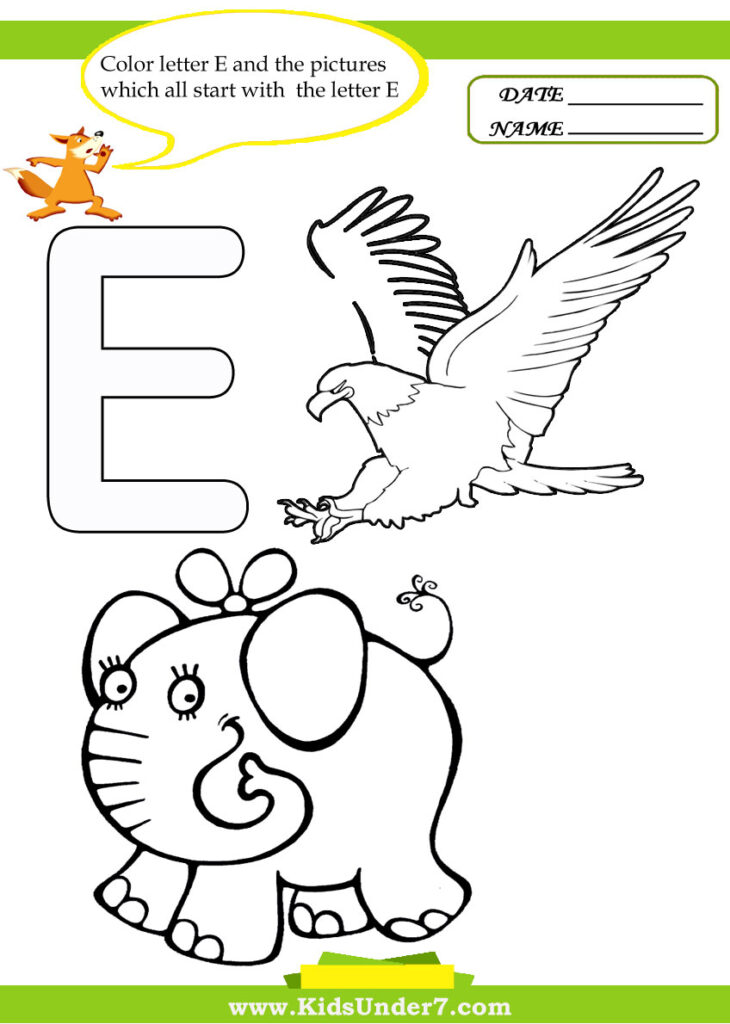 Kids Under 7: Letter E Worksheets And Coloring Pages Within Letter E Worksheets Coloring