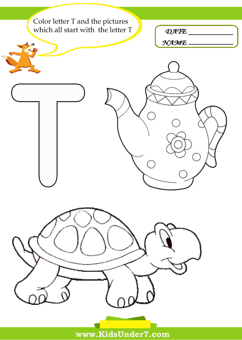 Kids Under 7: Letter T Worksheets And Coloring Pages throughout Letter T Worksheets For Toddlers