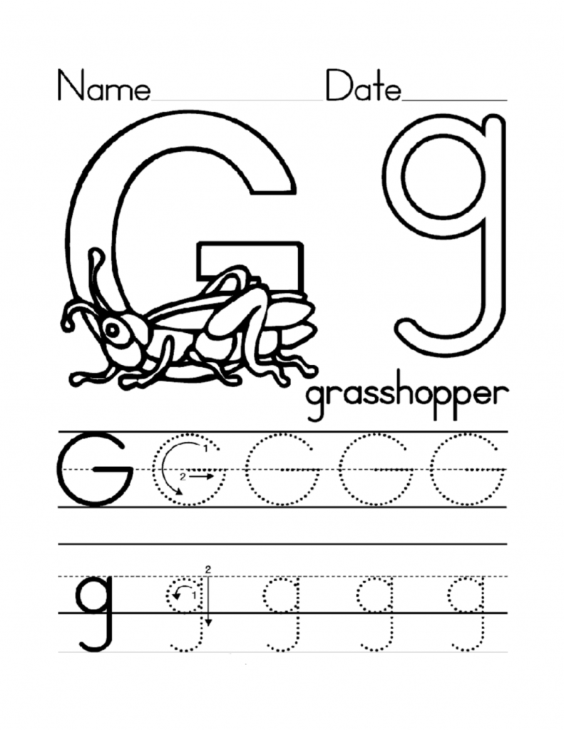 Kidzone Letter Worksheets Trace G Activity Shelter S W Inside Kidzone Name Tracing