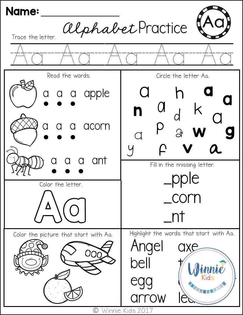 Kindergarten Alphabet Practice | Kindergarten Alphabet with Alphabet Recognition Worksheets