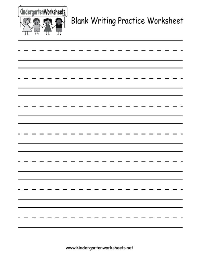 Kindergarten Blank Writing Practice Worksheet Printable Pertaining To Name Tracing With Blank Lines