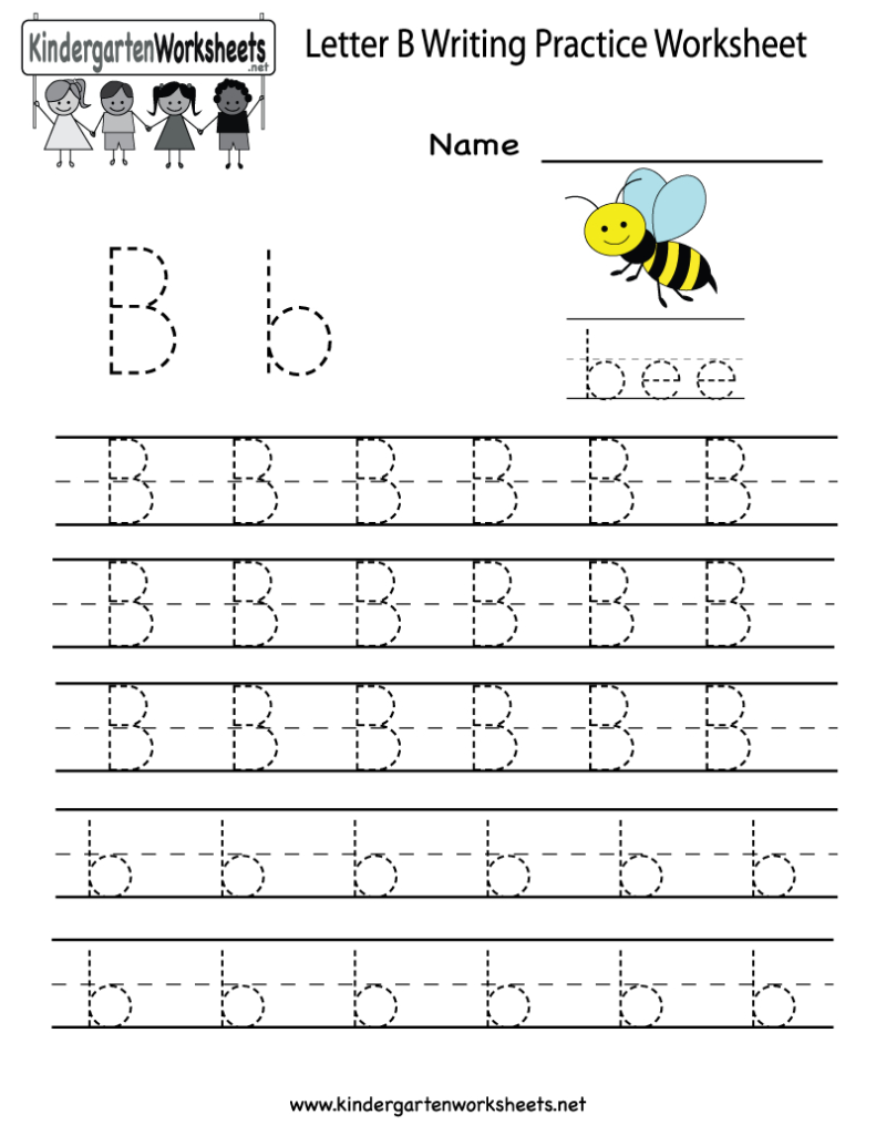 Kindergarten Letter B Writing Practice Worksheet Printable Regarding Letter J Worksheets For Grade 1