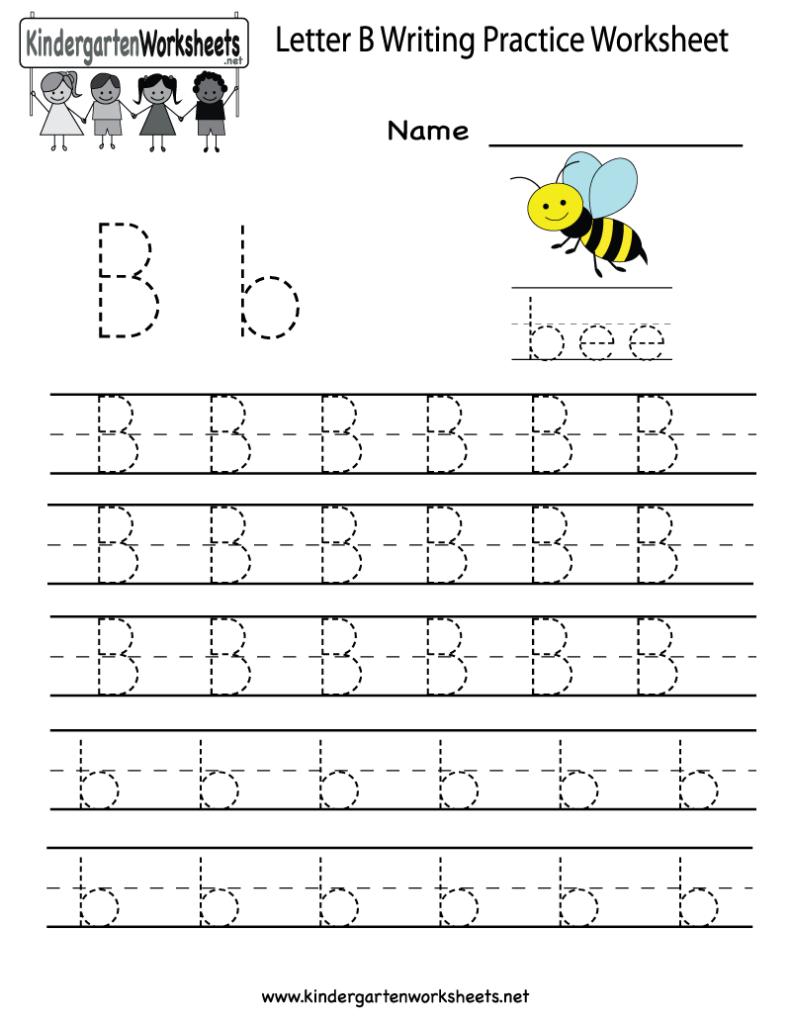 Kindergarten Letter B Writing Practice Worksheet Printable Throughout Letter B Worksheets For Kindergarten Pdf