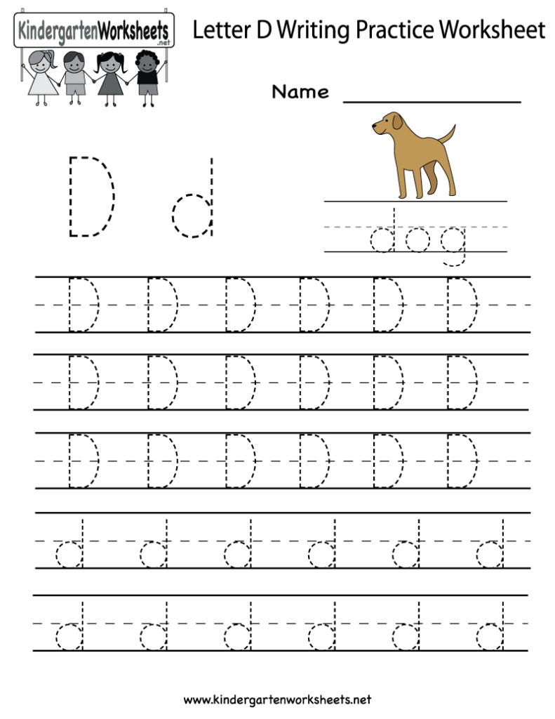 Kindergarten Letter D Writing Practice Worksheet Printable Pertaining To Alphabet D Tracing Sheet