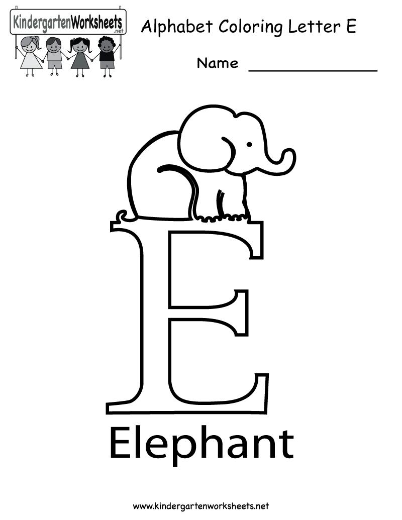 Kindergarten Letter E Coloring Worksheet Printable (With inside Letter E Worksheets Coloring