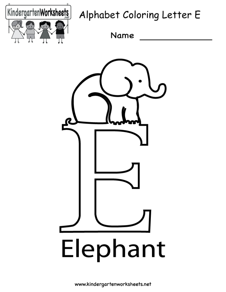 Kindergarten Letter E Coloring Worksheet Printable (With With Letter E Worksheets For Toddlers