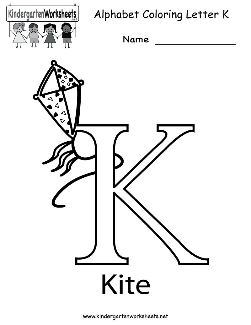 Kindergarten Letter K Coloring Worksheet Printable with Letter K Worksheets For Toddlers