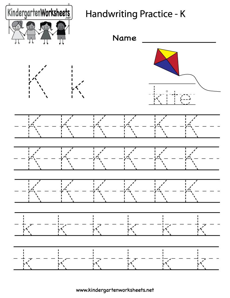Kindergarten Letter K Writing Practice Worksheet Printable regarding Letter K Worksheets For Toddlers
