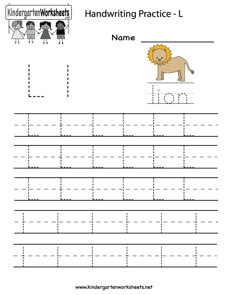 Kindergarten Letter L Writing Practice Worksheet Printable throughout Letter L Worksheets For Kindergarten Pdf