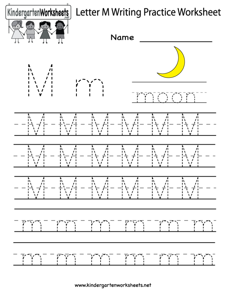 Kindergarten Letter M Writing Practice Worksheet Printable Throughout Letter M Tracing Preschool