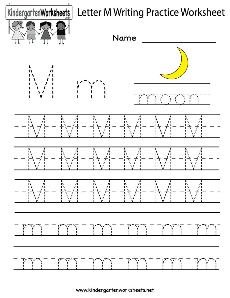Kindergarten Letter M Writing Practice Worksheet Printable Within Letter M Worksheets Free