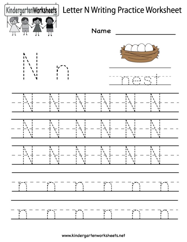 Kindergarten Letter N Writing Practice Worksheet Printable Within Pre K Alphabet Handwriting Worksheets