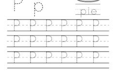 Kindergarten Letter P Writing Practice Worksheet Printable inside Letter P Tracing Printable