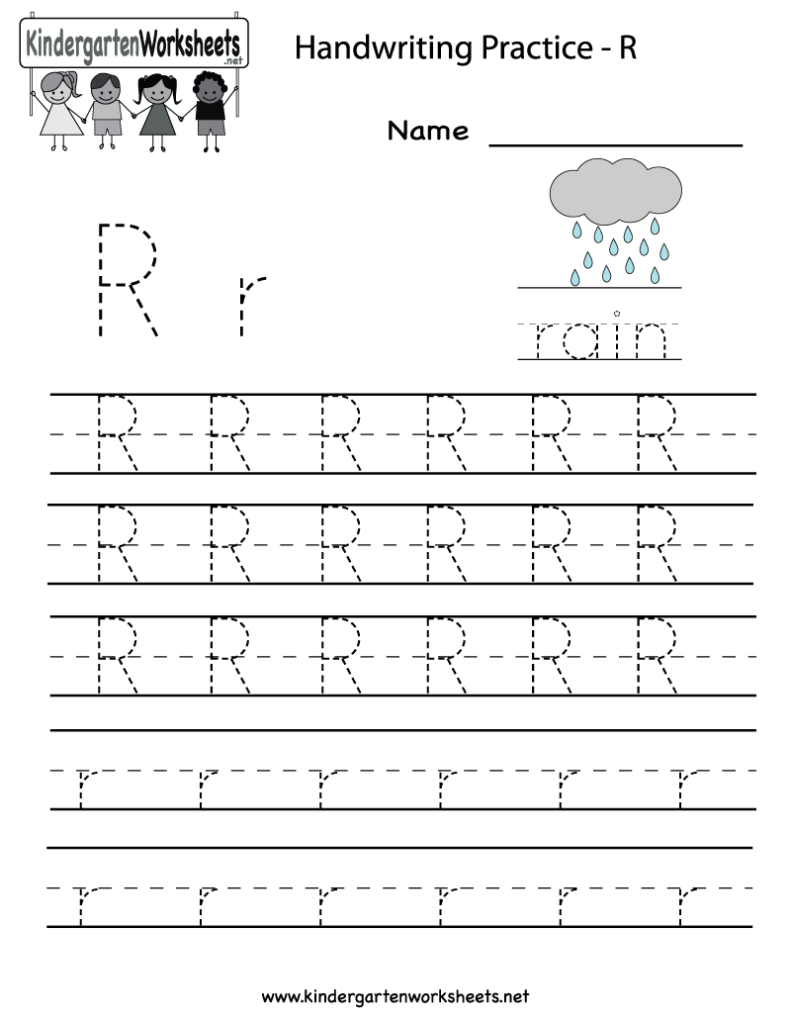 Kindergarten Letter R Writing Practice Worksheet Printable Pertaining To Alphabet Worksheets Grade R