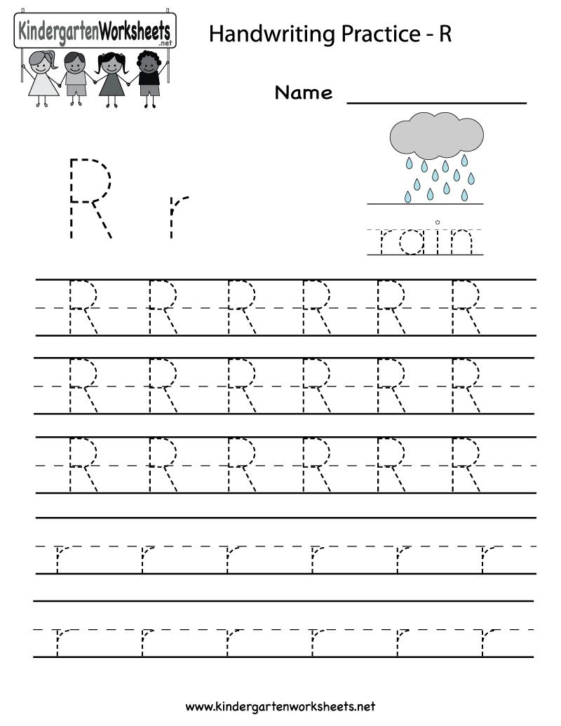 Kindergarten Letter R Writing Practice Worksheet Printable with Letter R Tracing Worksheets