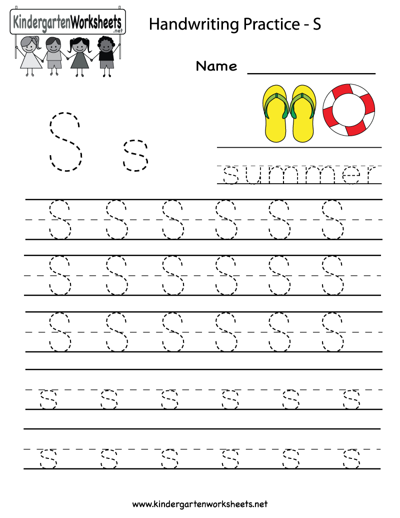 Kindergarten Letter S Writing Practice Worksheet Printable intended for Letter S Tracing Page