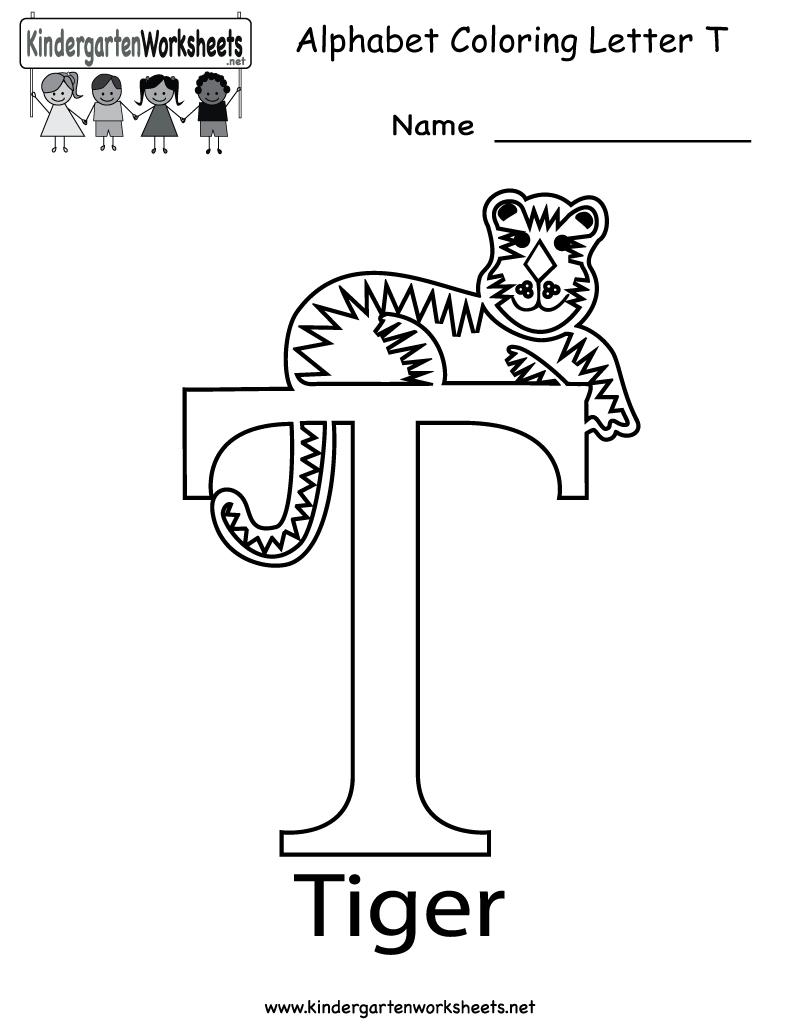 Kindergarten Letter T Coloring Worksheet Printable | Letter pertaining to Letter T Worksheets For Toddlers