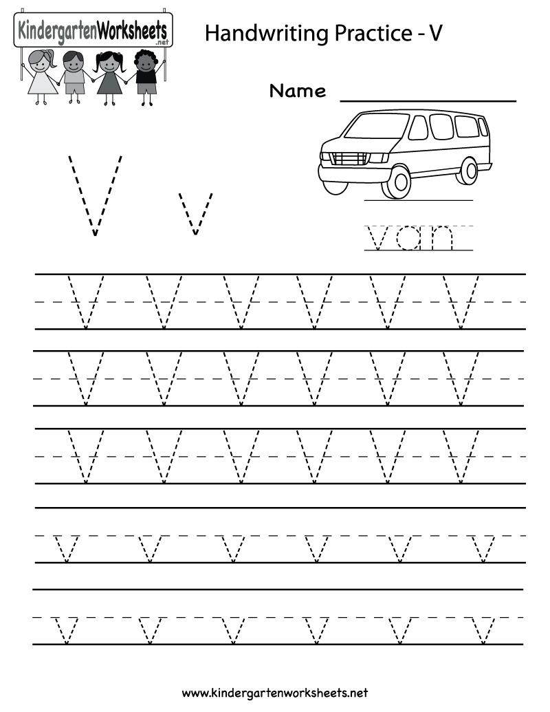 Kindergarten Letter V Writing Practice Worksheet Printable with regard to Letter V Tracing Worksheets For Preschool