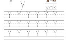 Kindergarten Letter Y Writing Practice Worksheet Printable with regard to Letter Y Tracing Worksheets Preschool