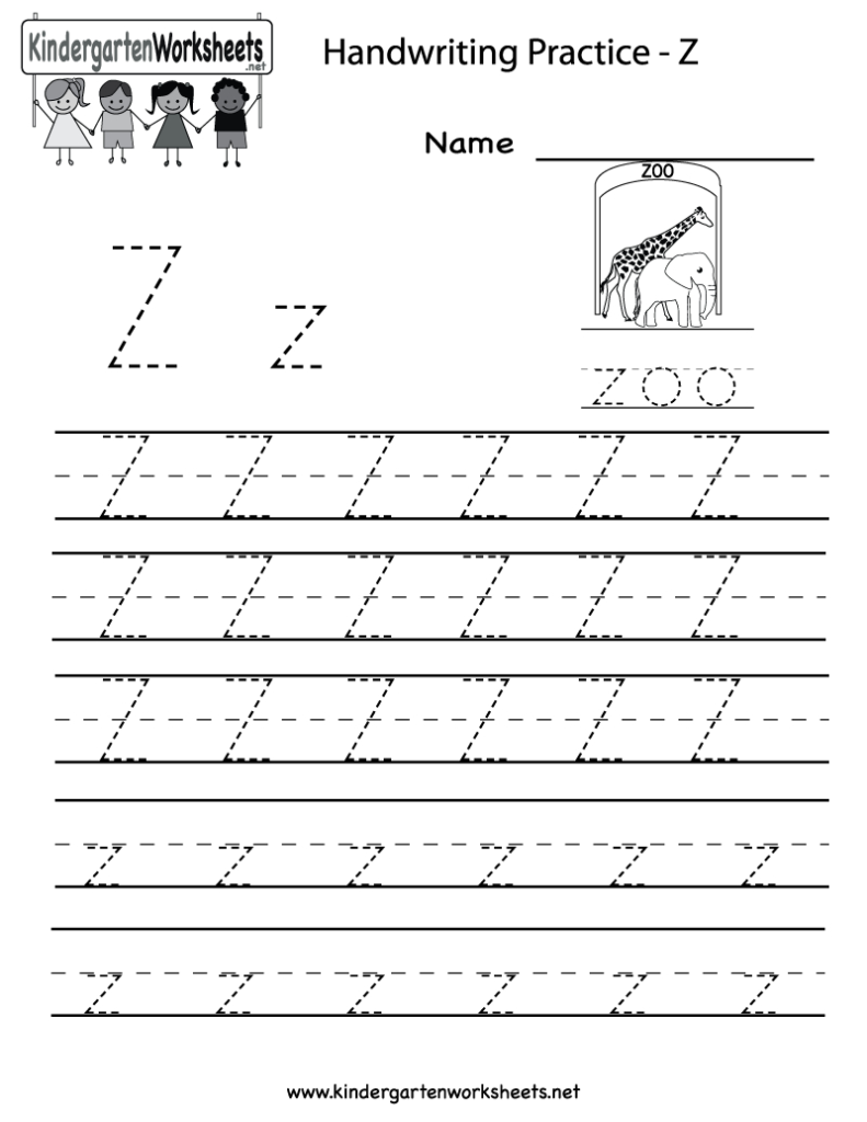 Kindergarten Letter Z Writing Practice Worksheet Printable Within A To Z Name Tracing Worksheets