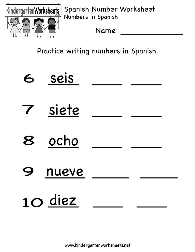 Kindergarten Spanish Number Worksheet Printable | Spanish with Alphabet Worksheets In Spanish