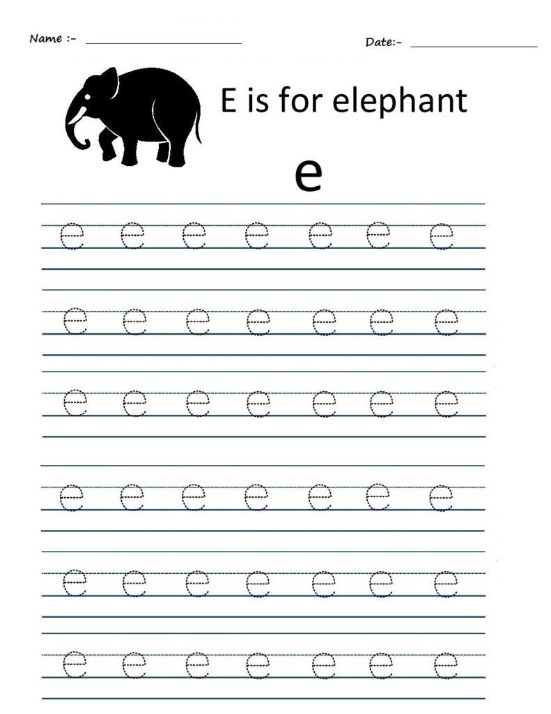 Kindergarten Worksheets: Alphabet Tracing Worksheets   E Regarding Letter E Worksheets Tracing