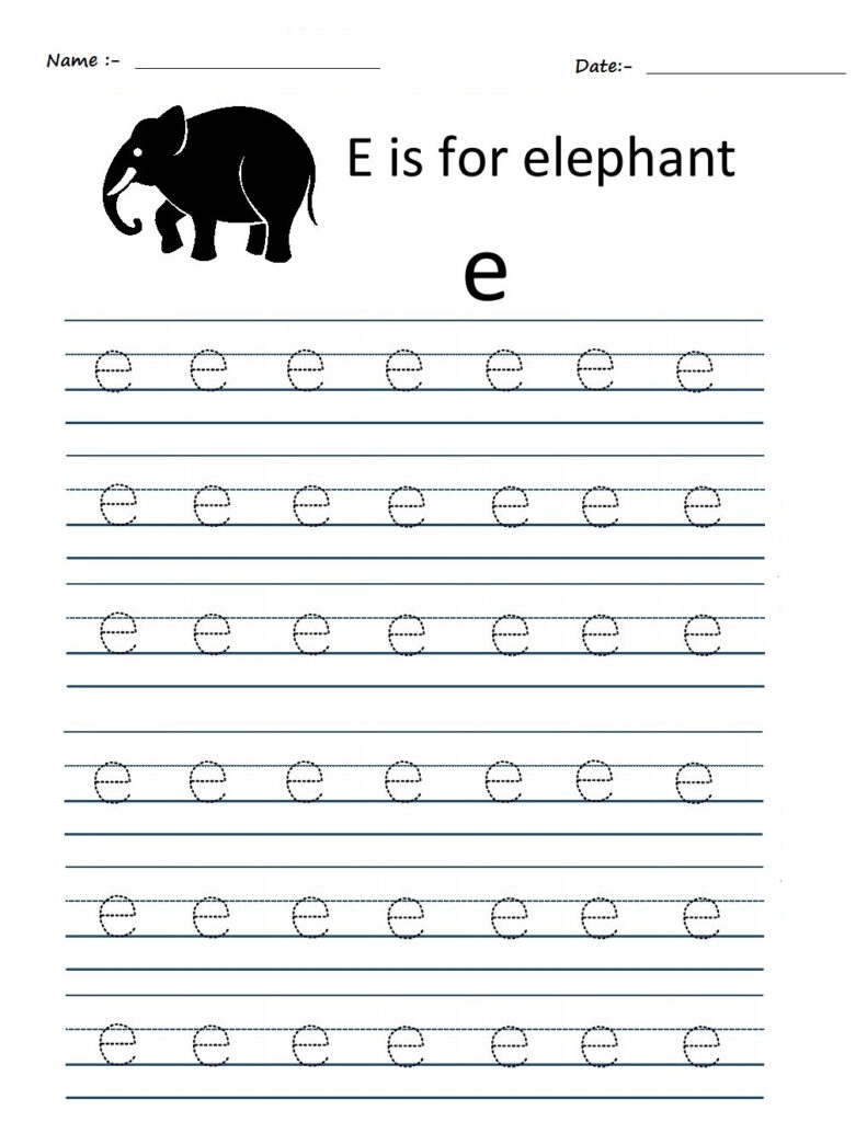 Kindergarten Worksheets: Alphabet Tracing Worksheets   E With Regard To Alphabet E Tracing Worksheets