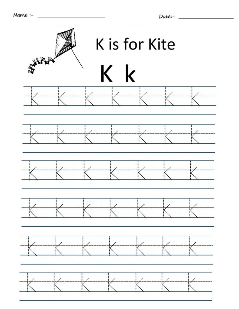 Kindergarten Worksheets: Alphabet Tracing Worksheets   K Regarding Alphabet K Tracing